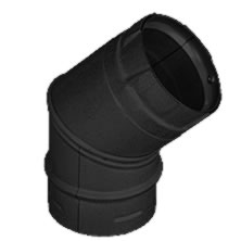 4 Inch Pellet 45 Degree Elbow Black